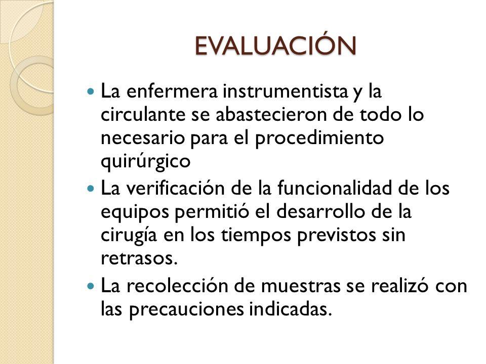 EVALUACIÓN La enfermera instrumentista y la circulante se abastecieron de todo lo necesario para el procedimiento quirúrgico La verificación de la fun