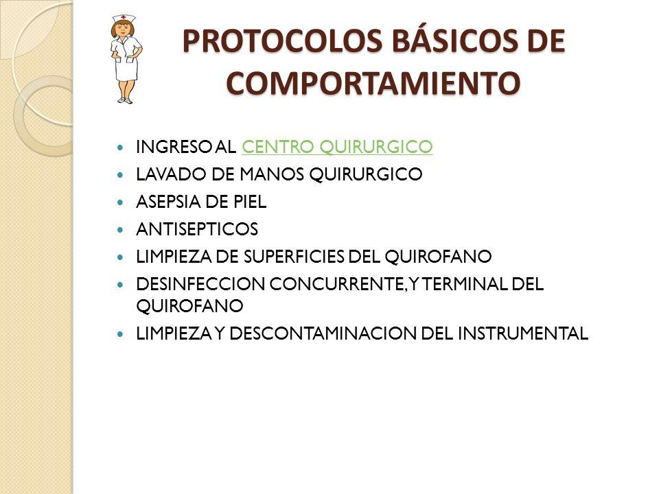 PROTOCOLOS BÁSICOS DE COMPORTAMIENTO INGRESO AL CENTRO QUIRURGICOCENTRO QUIRURGICO LAVADO DE MANOS QUIRURGICO ASEPSIA DE PIEL ANTISEPTICOS LIMPIEZA DE