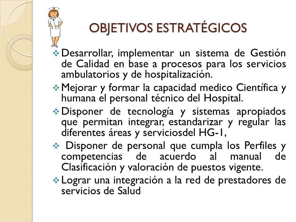OBJETIVOS ESTRATÉGICOS Desarrollar, implementar un sistema de Gestión de Calidad en base a procesos para los servicios ambulatorios y de hospitalizaci