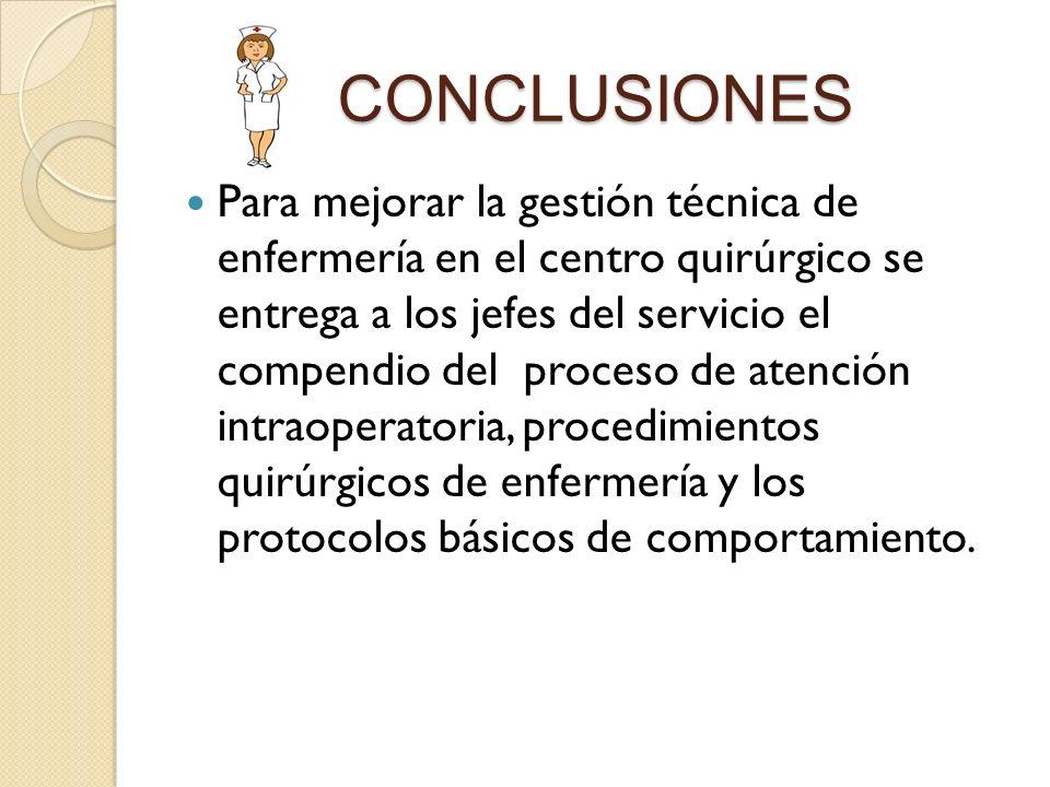 CONCLUSIONES Para mejorar la gestión técnica de enfermería en el centro quirúrgico se entrega a los jefes del servicio el compendio del proceso de ate