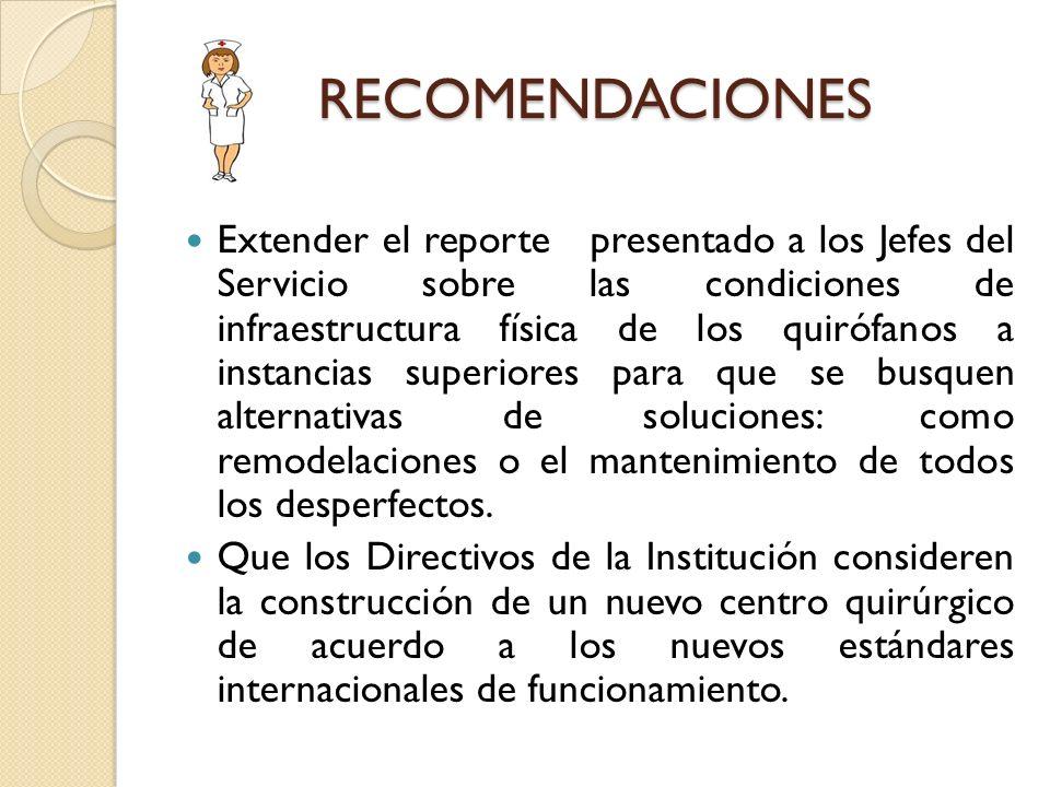 RECOMENDACIONES Extender el reporte presentado a los Jefes del Servicio sobre las condiciones de infraestructura física de los quirófanos a instancias