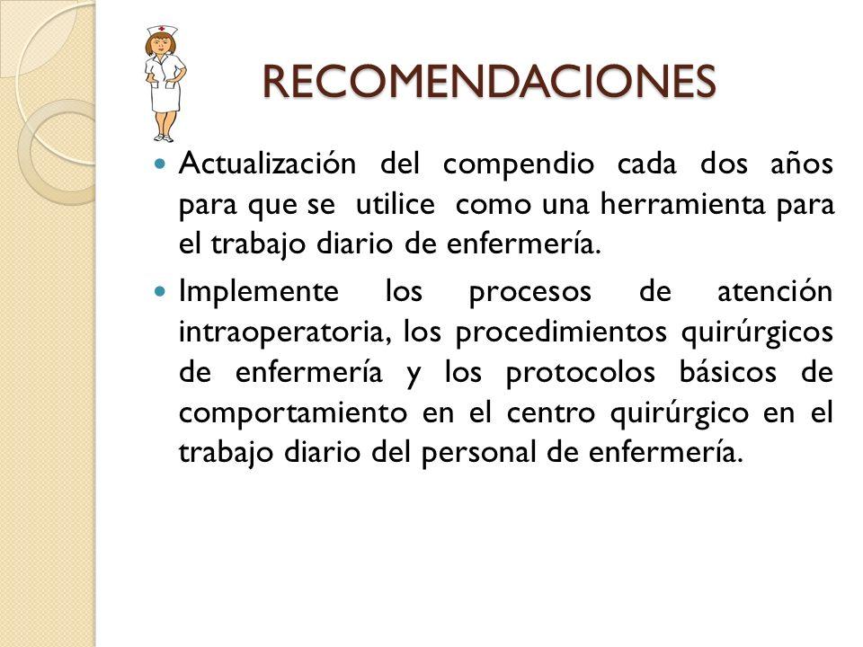 RECOMENDACIONES Actualización del compendio cada dos años para que se utilice como una herramienta para el trabajo diario de enfermería. Implemente lo