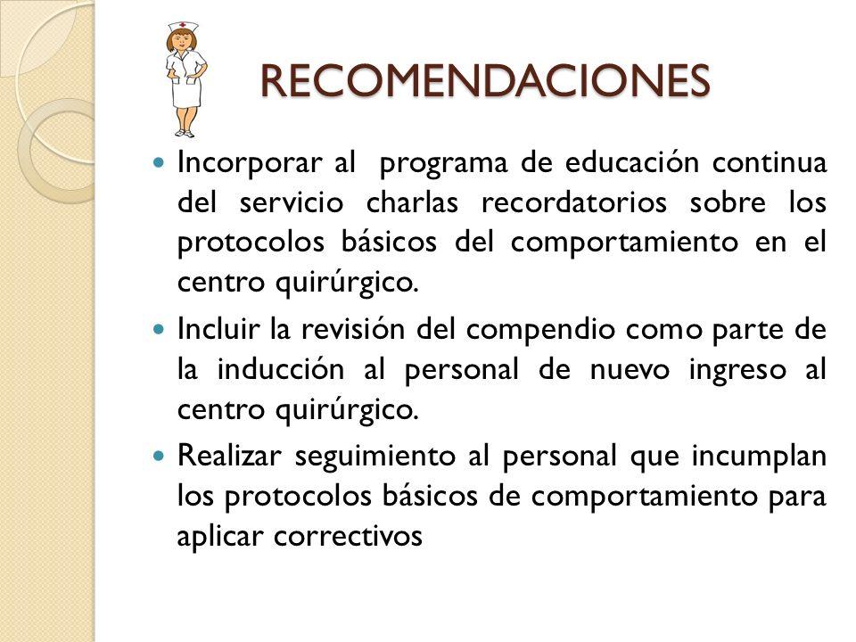 RECOMENDACIONES Incorporar al programa de educación continua del servicio charlas recordatorios sobre los protocolos básicos del comportamiento en el