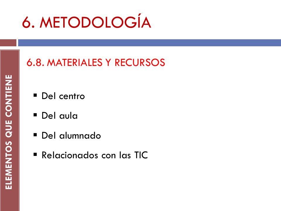 6. METODOLOGÍA ELEMENTOS QUE CONTIENE 6.8. MATERIALES Y RECURSOS Del centro Del aula Del alumnado Relacionados con las TIC