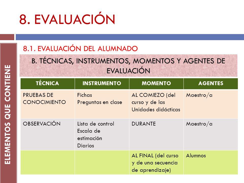 8. EVALUACIÓN ELEMENTOS QUE CONTIENE 8.1. EVALUACIÓN DEL ALUMNADO B. TÉCNICAS, INSTRUMENTOS, MOMENTOS Y AGENTES DE EVALUACIÓN TÉCNICAINSTRUMENTOMOMENT