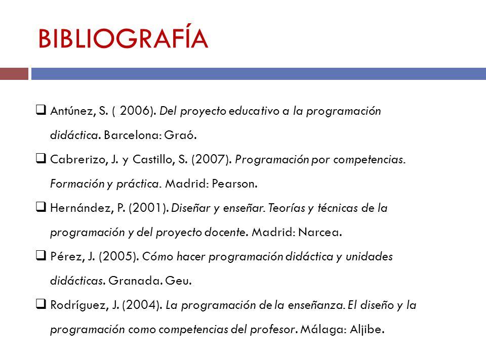 BIBLIOGRAFÍA Antúnez, S. ( 2006). Del proyecto educativo a la programación didáctica. Barcelona: Graó. Cabrerizo, J. y Castillo, S. (2007). Programaci