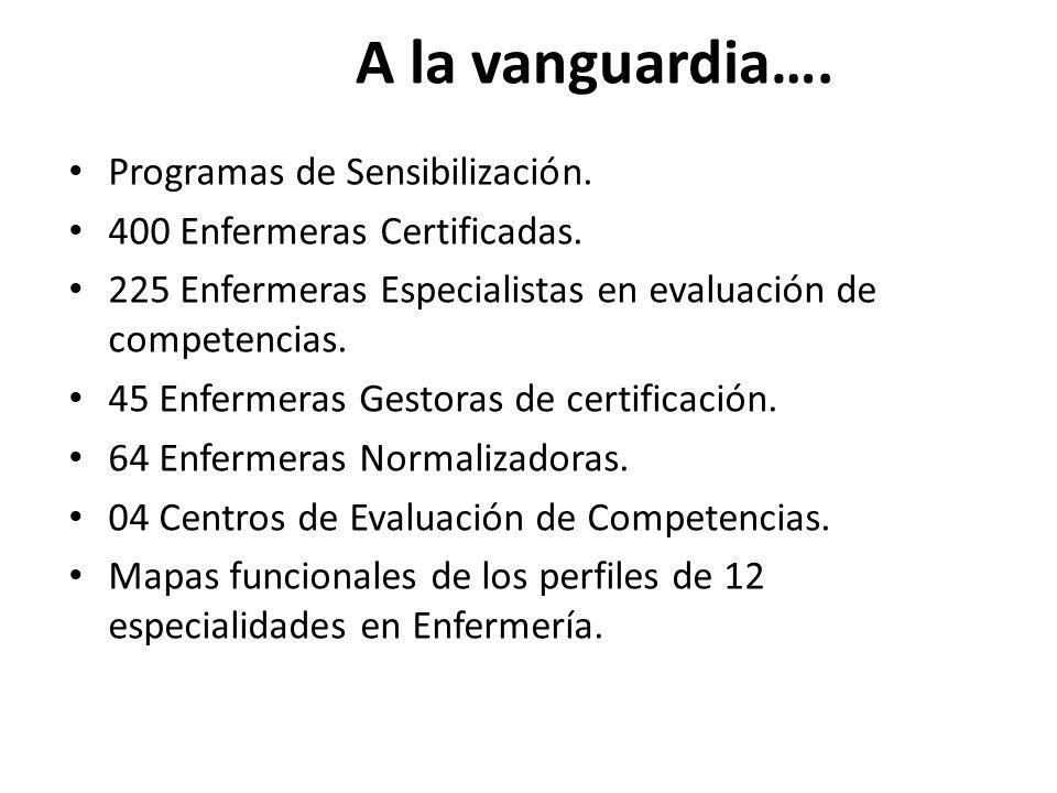 A la vanguardia….Programas de Sensibilización. 400 Enfermeras Certificadas.