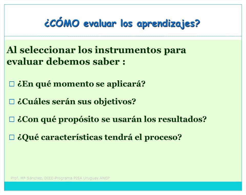 Prof. Mª Sánchez. DIEE-Programa PISA Uruguay.ANEP ¿CÓMO evaluar los aprendizajes? ¿En qué momento se aplicará? ¿Cuáles serán sus objetivos? ¿Con qué p