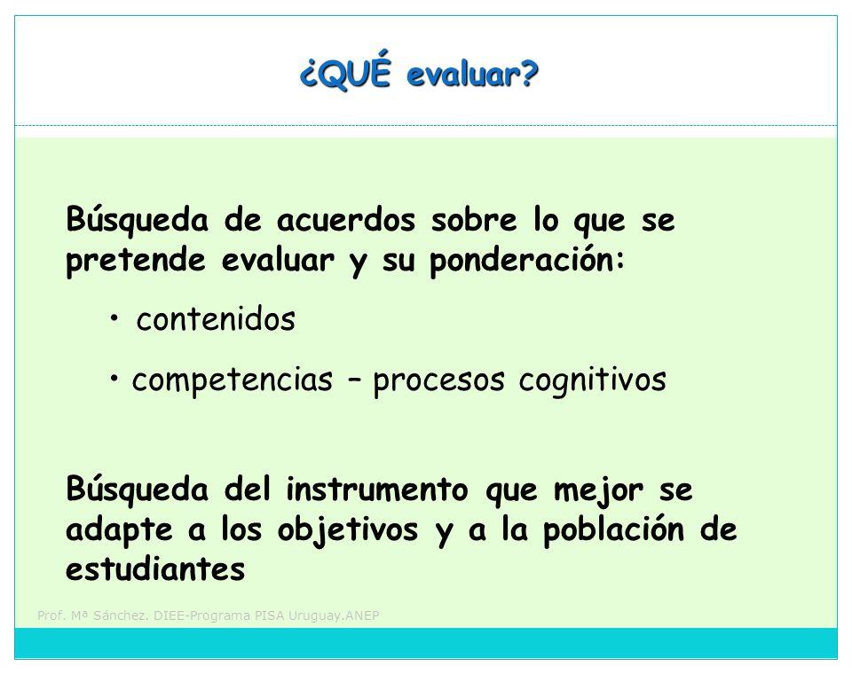 Prof. Mª Sánchez. DIEE-Programa PISA Uruguay.ANEP ¿QUÉ evaluar? Búsqueda del instrumento que mejor se adapte a los objetivos y a la población de estud