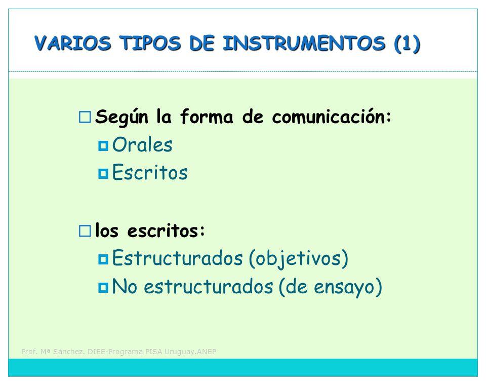 Prof. Mª Sánchez. DIEE-Programa PISA Uruguay.ANEP VARIOS TIPOS DE INSTRUMENTOS (1) Según la forma de comunicación: Orales Escritos los escritos: Estru