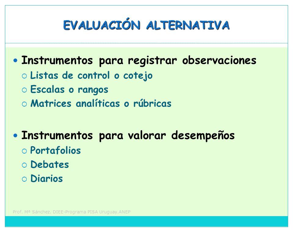 Prof. Mª Sánchez. DIEE-Programa PISA Uruguay.ANEP EVALUACIÓN ALTERNATIVA Instrumentos para registrar observaciones Listas de control o cotejo Escalas