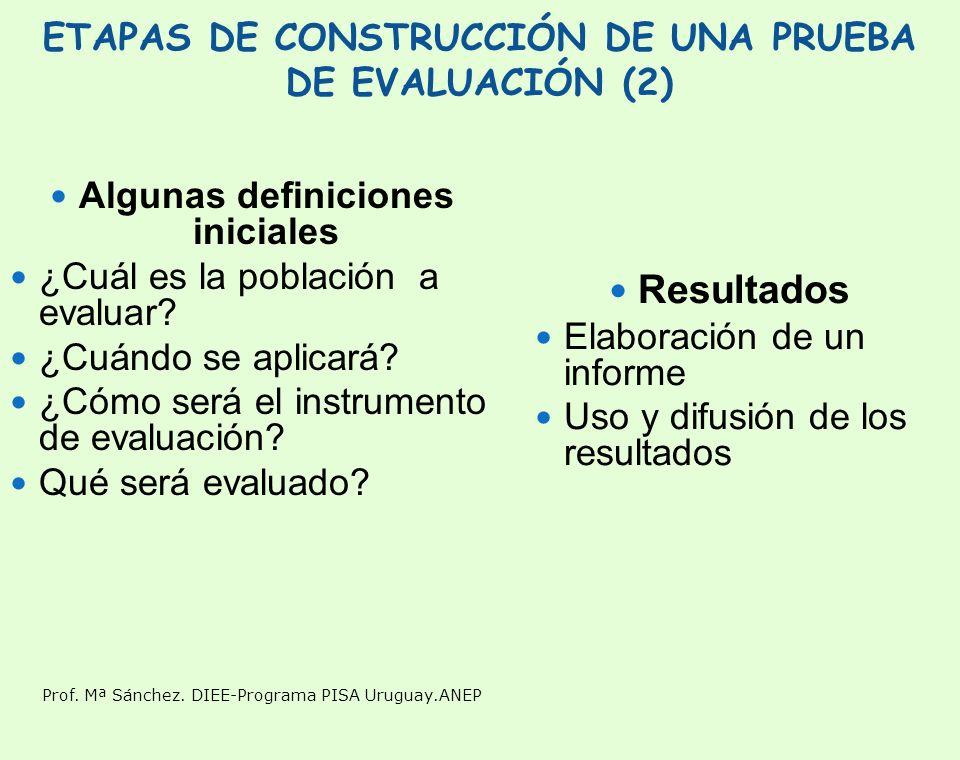 Prof. Mª Sánchez. DIEE-Programa PISA Uruguay.ANEP ETAPAS DE CONSTRUCCIÓN DE UNA PRUEBA DE EVALUACIÓN (2) Algunas definiciones iniciales ¿Cuál es la po