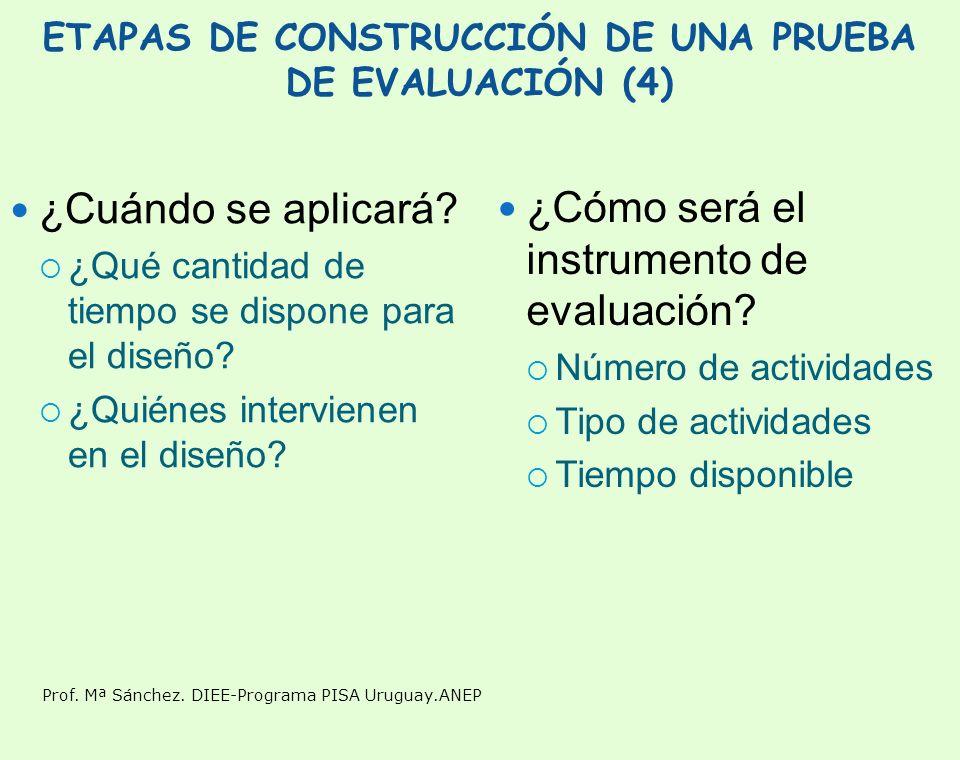 Prof. Mª Sánchez. DIEE-Programa PISA Uruguay.ANEP ETAPAS DE CONSTRUCCIÓN DE UNA PRUEBA DE EVALUACIÓN (4) ¿Cuándo se aplicará? ¿Qué cantidad de tiempo