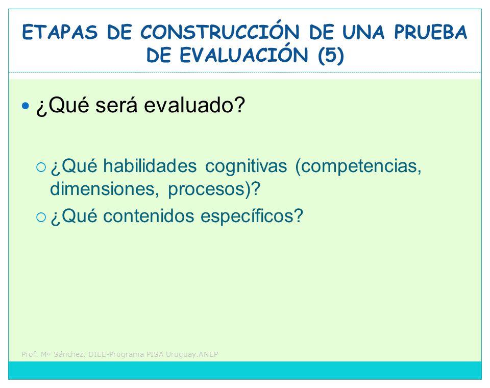Prof. Mª Sánchez. DIEE-Programa PISA Uruguay.ANEP ETAPAS DE CONSTRUCCIÓN DE UNA PRUEBA DE EVALUACIÓN (5) ¿Qué será evaluado? ¿Qué habilidades cognitiv