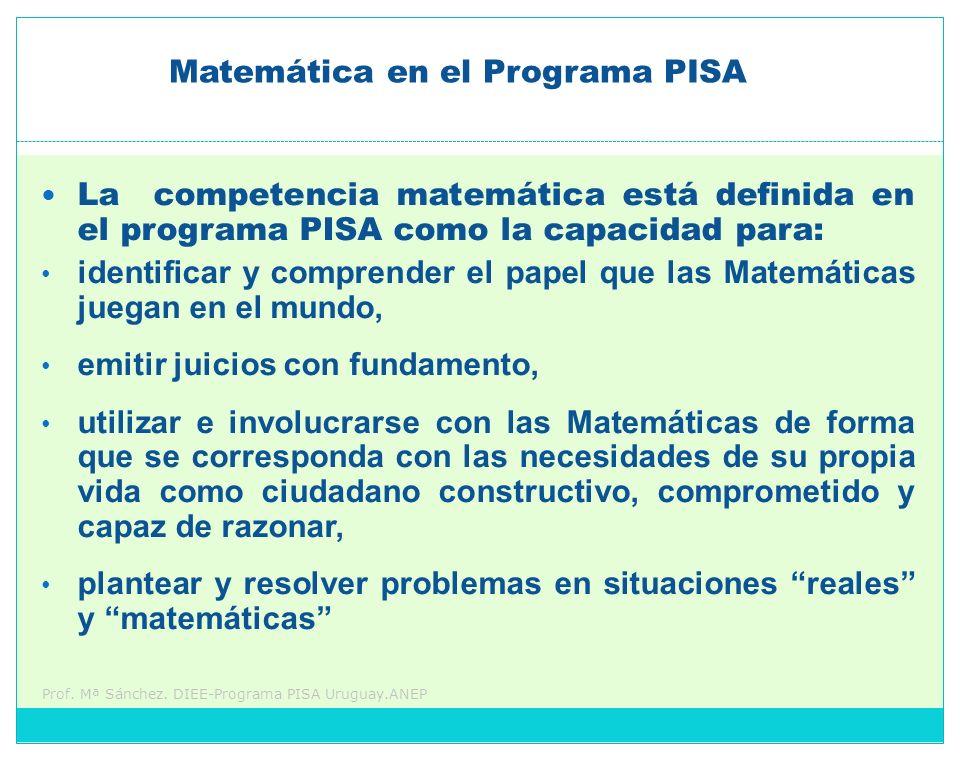 Prof. Mª Sánchez. DIEE-Programa PISA Uruguay.ANEP La competencia matemática está definida en el programa PISA como la capacidad para: identificar y co