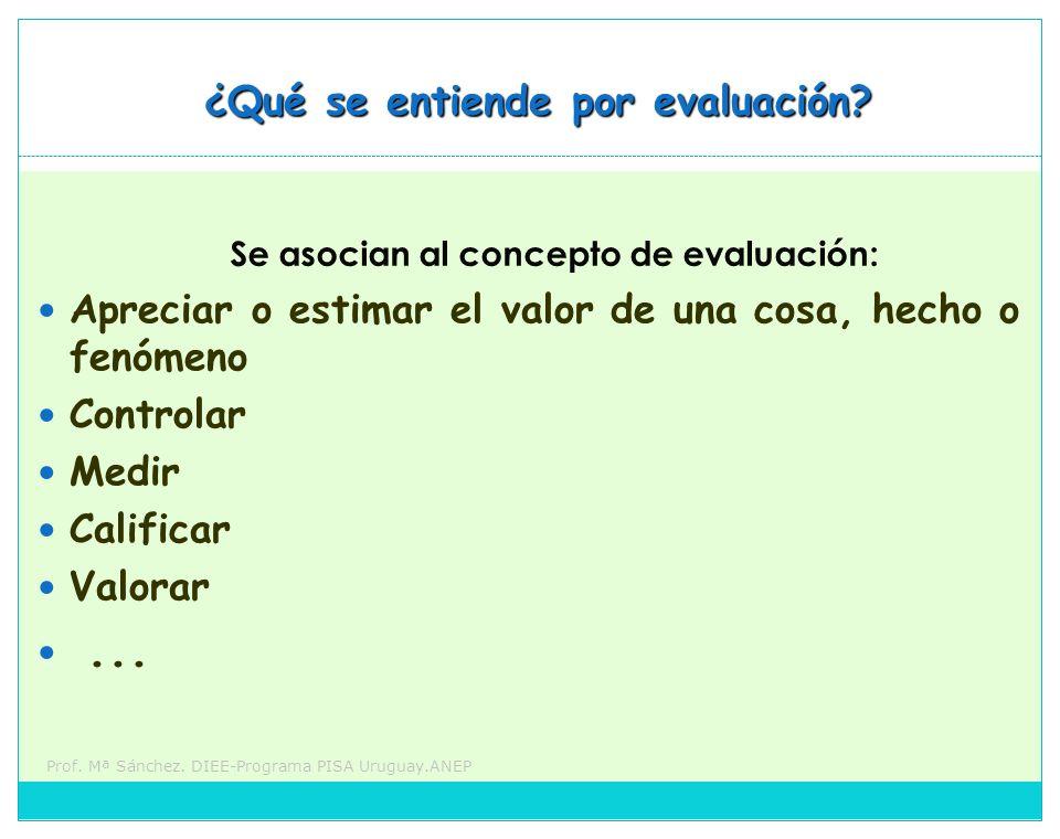 Prof. Mª Sánchez. DIEE-Programa PISA Uruguay.ANEP Se asocian al concepto de evaluación: Apreciar o estimar el valor de una cosa, hecho o fenómeno Cont