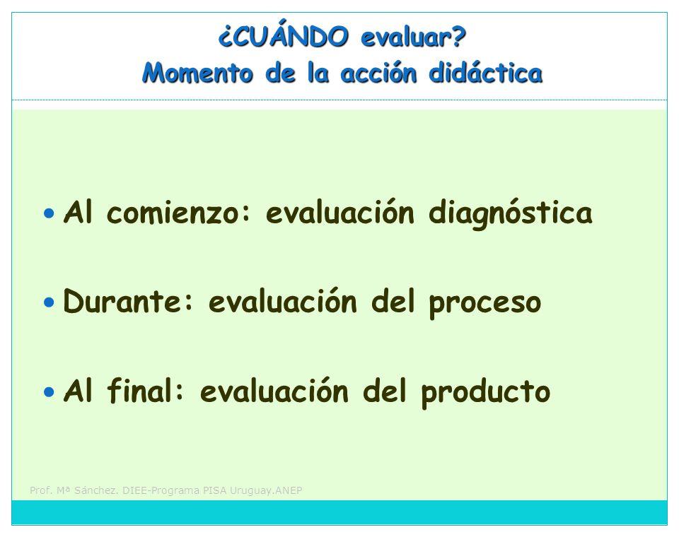 Prof. Mª Sánchez. DIEE-Programa PISA Uruguay.ANEP ¿CUÁNDO evaluar? Momento de la acción didáctica Al comienzo: evaluación diagnóstica Durante: evaluac