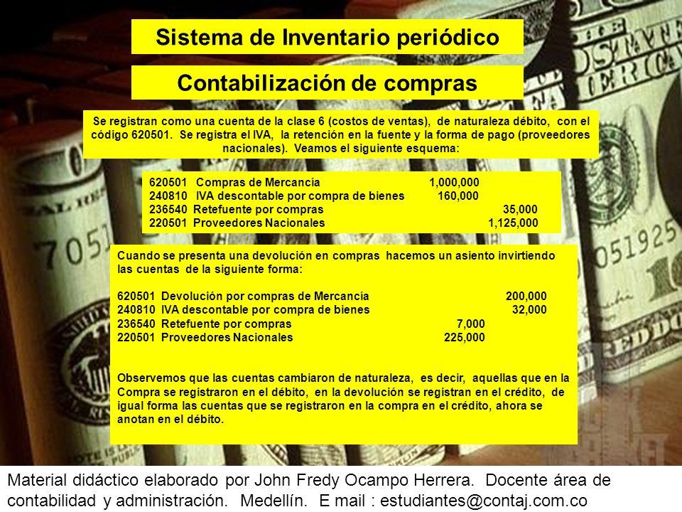 Ahora analicemos el comportamiento de las cuentas en el asiento a precio de costo: FechaCód.DescripciónDébitoCrédito 05/03/11413524Venta de camisas2.400.000 240805 135515 130505 IVA generado venta de bienes Retefuente por ventas Clientes Nacionales 84.000 2.700.000 384.000 05/03/11613524 143501 CMV camisas Inventario de camisas 1.200.000 Material didáctico elaborado por John Fredy Ocampo Herrera.