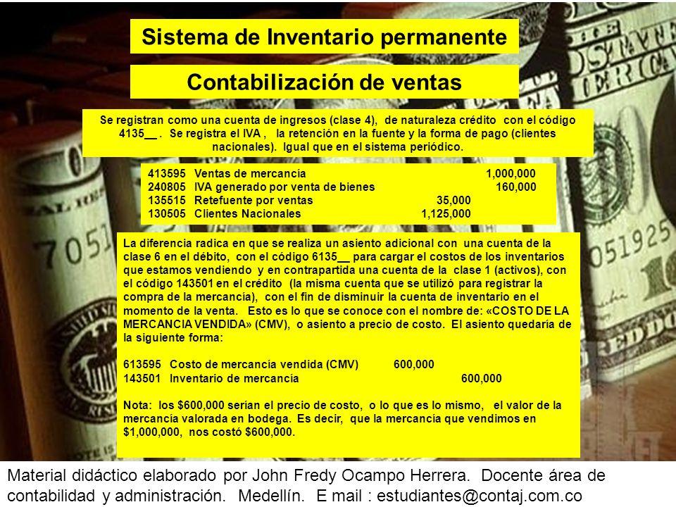 Material didáctico elaborado por John Fredy Ocampo Herrera. Docente área de contabilidad y administración. Medellín. E mail : estudiantes@contaj.com.c