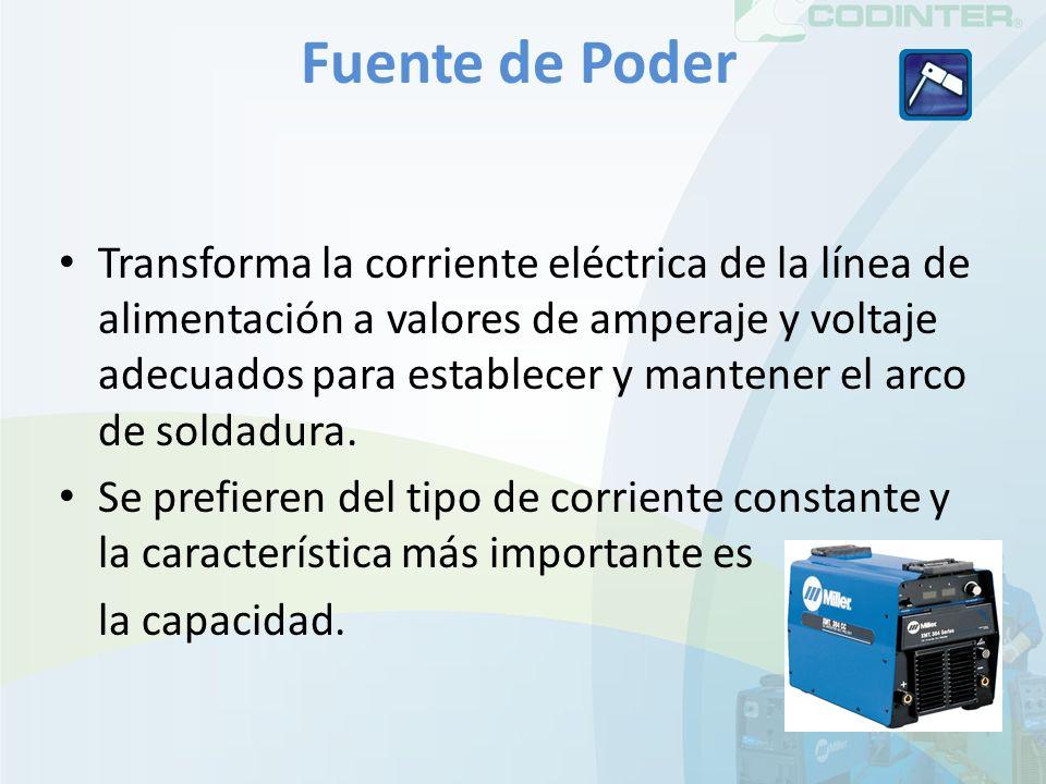 Fuente de Poder Transforma la corriente eléctrica de la línea de alimentación a valores de amperaje y voltaje adecuados para establecer y mantener el arco de soldadura.