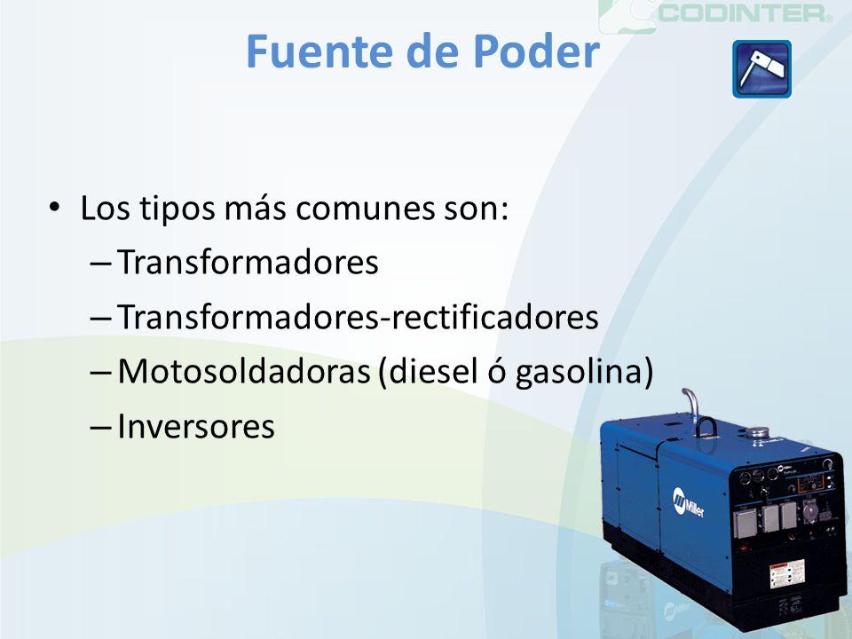Fuente de Poder Los tipos más comunes son: – Transformadores – Transformadores-rectificadores – Motosoldadoras (diesel ó gasolina) – Inversores