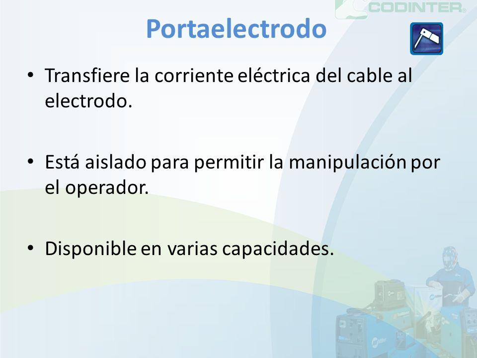 Portaelectrodo Transfiere la corriente eléctrica del cable al electrodo. Está aislado para permitir la manipulación por el operador. Disponible en var