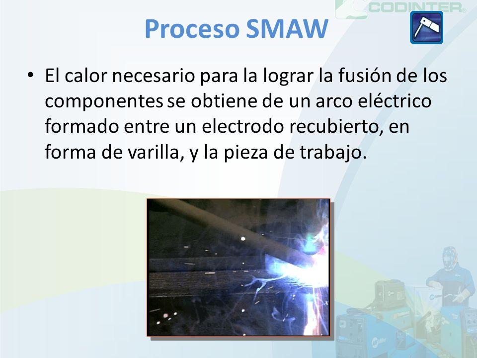 Proceso SMAW El calor necesario para la lograr la fusión de los componentes se obtiene de un arco eléctrico formado entre un electrodo recubierto, en forma de varilla, y la pieza de trabajo.