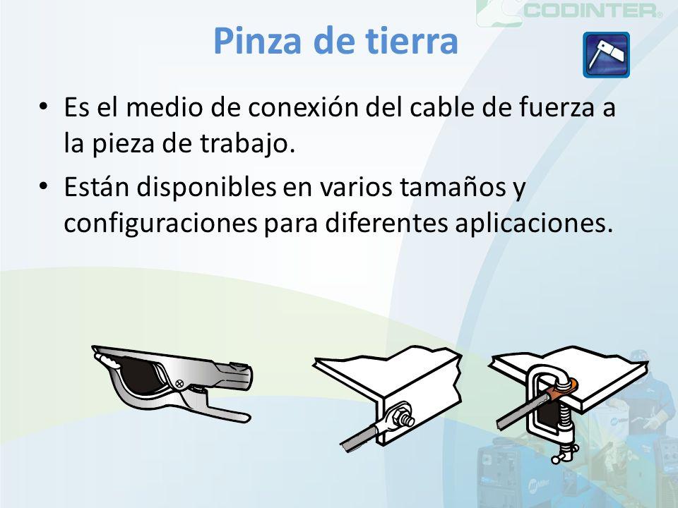 Pinza de tierra Es el medio de conexión del cable de fuerza a la pieza de trabajo. Están disponibles en varios tamaños y configuraciones para diferent