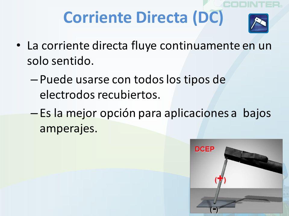 Corriente Directa (DC) La corriente directa fluye continuamente en un solo sentido. – Puede usarse con todos los tipos de electrodos recubiertos. – Es