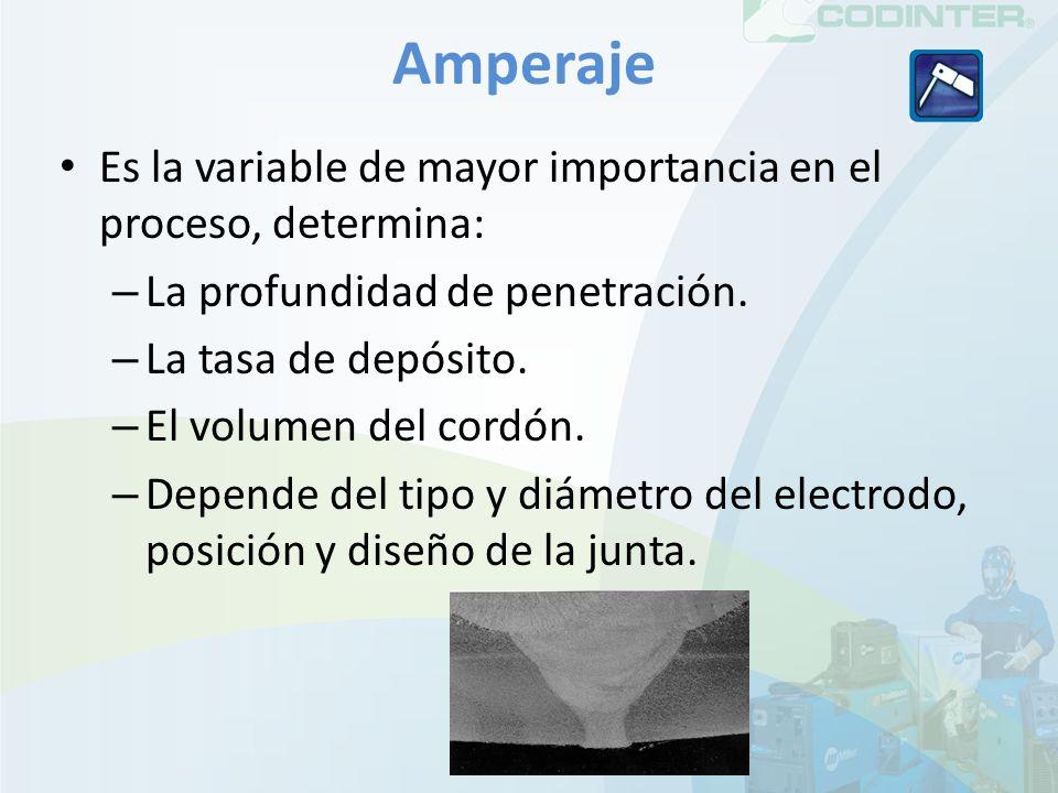 Amperaje Es la variable de mayor importancia en el proceso, determina: – La profundidad de penetración. – La tasa de depósito. – El volumen del cordón
