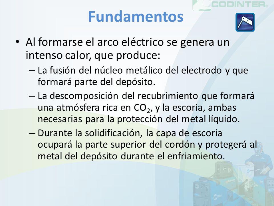 Fundamentos Al formarse el arco eléctrico se genera un intenso calor, que produce: – La fusión del núcleo metálico del electrodo y que formará parte del depósito.