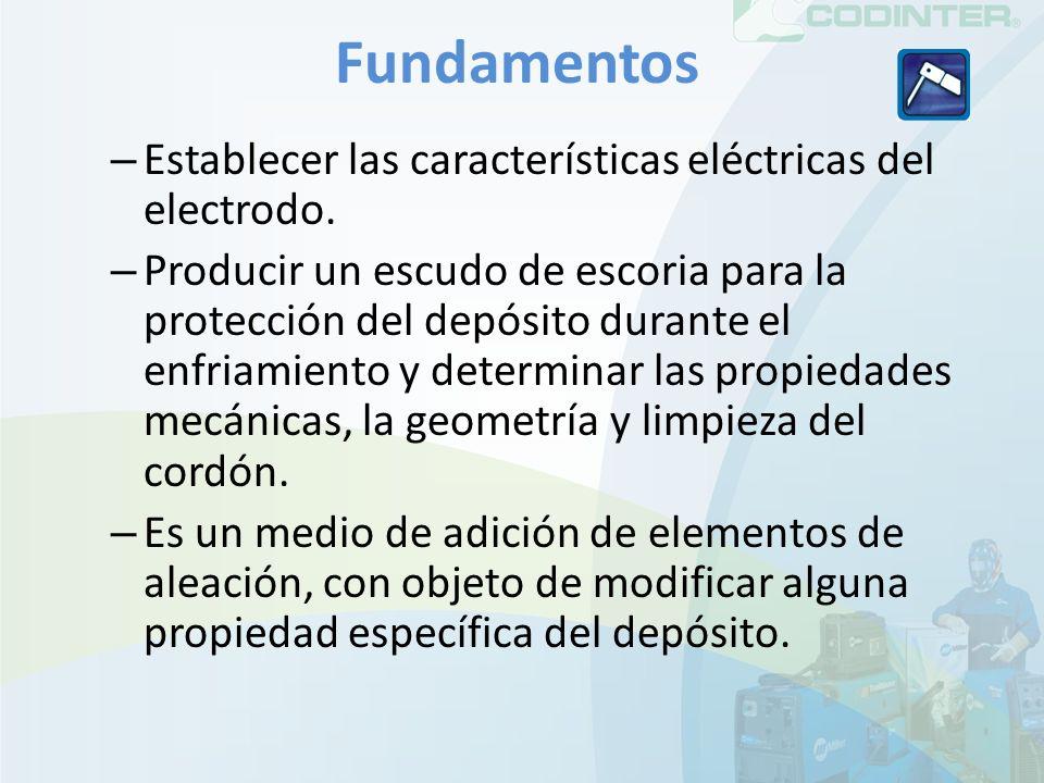 Fundamentos – Establecer las características eléctricas del electrodo. – Producir un escudo de escoria para la protección del depósito durante el enfr