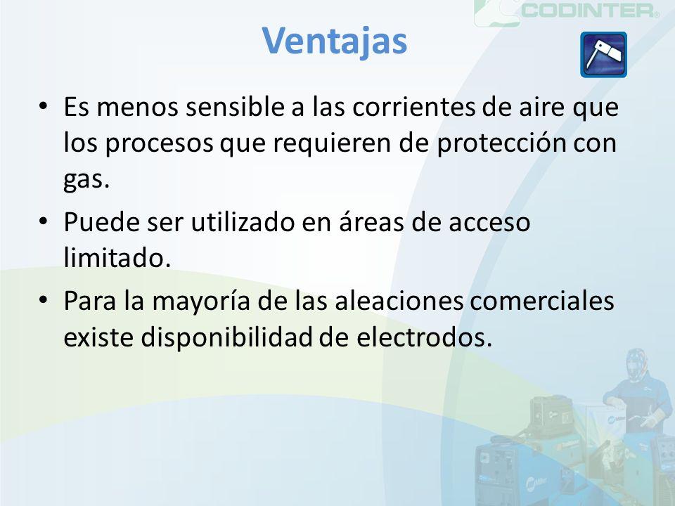 Ventajas Es menos sensible a las corrientes de aire que los procesos que requieren de protección con gas. Puede ser utilizado en áreas de acceso limit