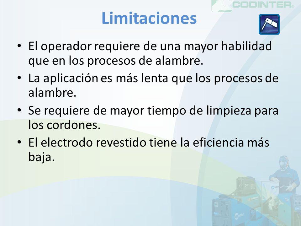 Limitaciones El operador requiere de una mayor habilidad que en los procesos de alambre. La aplicación es más lenta que los procesos de alambre. Se re