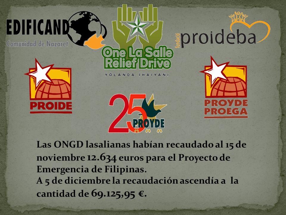 Las ONGD lasalianas habían recaudado al 15 de noviembre 12.634 euros para el Proyecto de Emergencia de Filipinas.