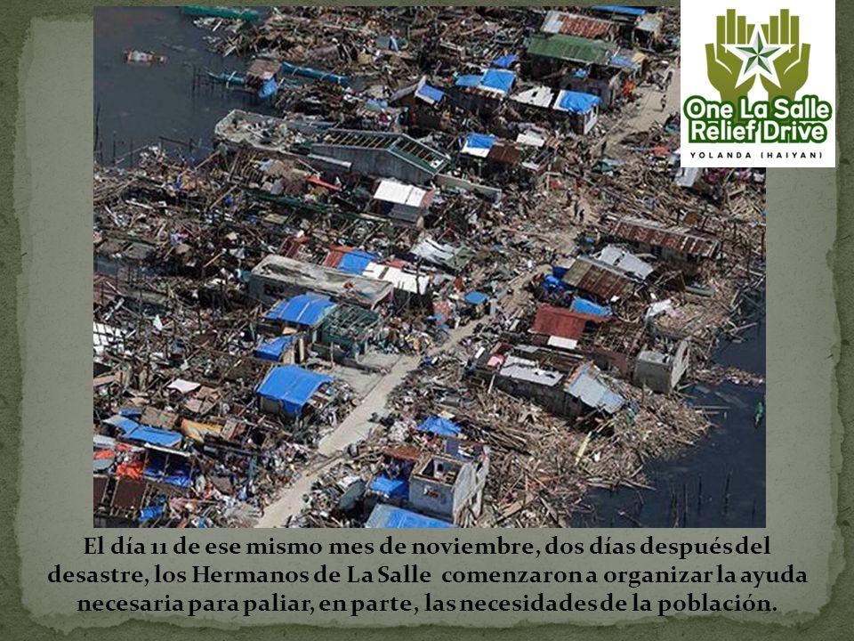El día 11 de ese mismo mes de noviembre, dos días después del desastre, los Hermanos de La Salle comenzaron a organizar la ayuda necesaria para paliar, en parte, las necesidades de la población.