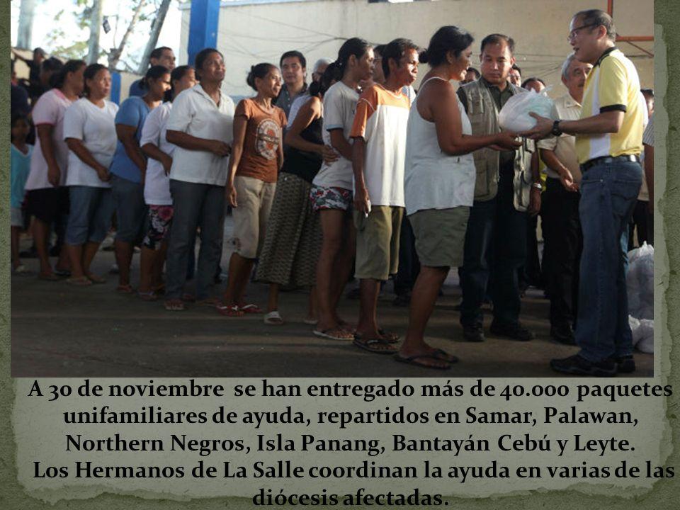 A 30 de noviembre se han entregado más de 40.000 paquetes unifamiliares de ayuda, repartidos en Samar, Palawan, Northern Negros, Isla Panang, Bantayán Cebú y Leyte.