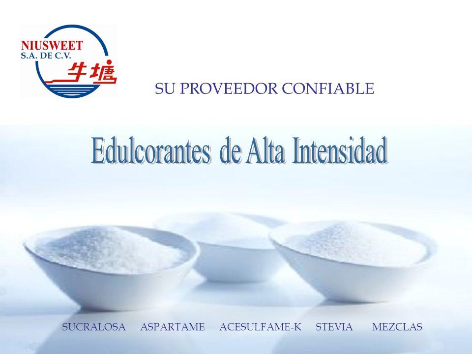 LOS EDULCORANTES DE ALTA INTENSIDAD PRESENTACIÓN Los Edulcorantes de Alta Intensidad se ofrecen en presentación de cuñetes de cartón con doble bolsa interior de polietileno y contenido de 25 kgs.