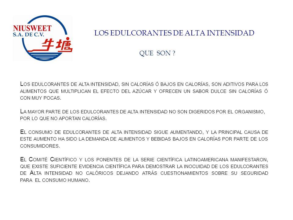 LOS EDULCORANTES DE ALTA INTENSIDAD BENEFICIOS PARA EL CONSUMIDOR: LOS EDULCORANTES DE ALTA INTENSIDAD OFRECEN A LOS CONSUMIDORES LA POSIBILIDAD DE INGERIR CALORÍAS DE FORMA INTELIGENTE Y PLACENTERA SIN TENER QUE RENUNCIAR AL SABOR.