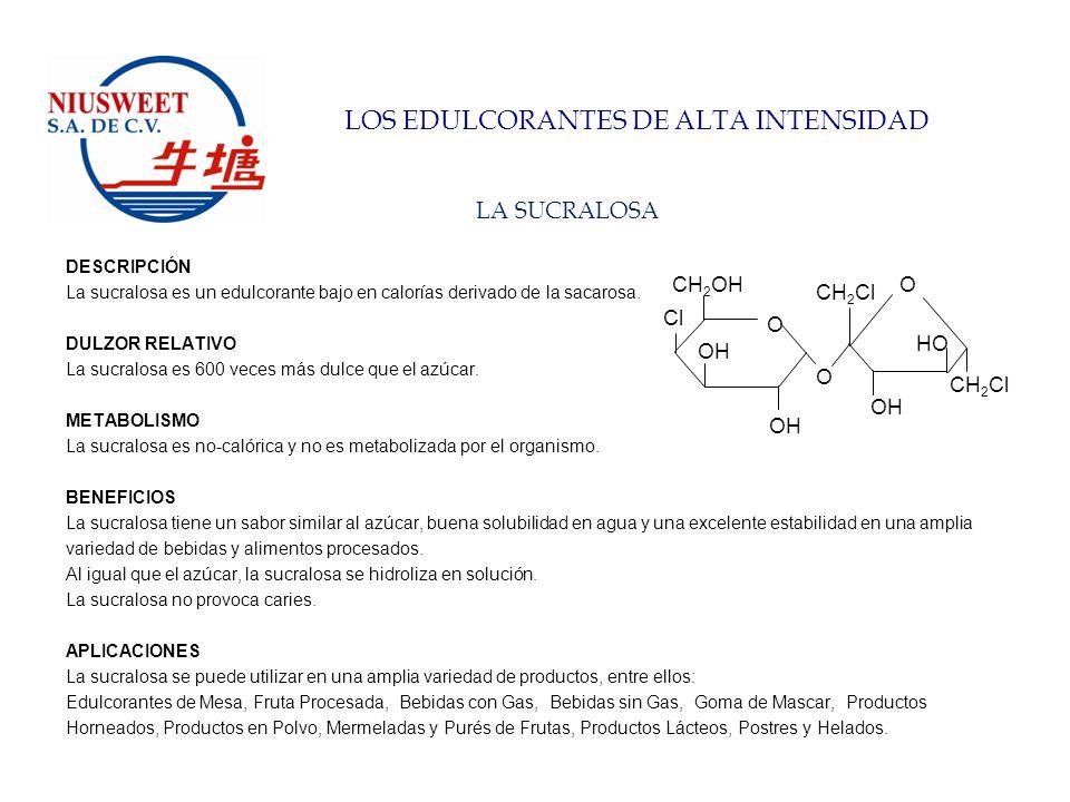 LOS EDULCORANTES DE ALTA INTENSIDAD EL ASPARTAME DESCRIPCIÓN El aspartame es un edulcorante bajo en calorías.