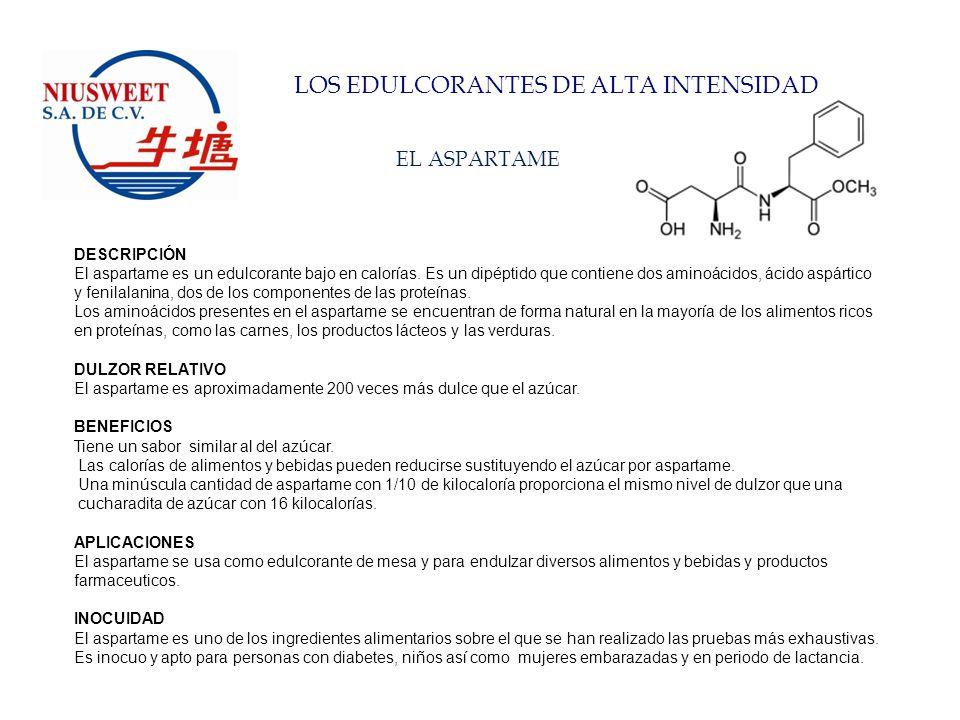 LOS EDULCORANTES DE ALTA INTENSIDAD EL ACESULFAME-K DESCRIPCIÓN El acesulfame-K es un edulcorante sin calorías descubierto en 1967.