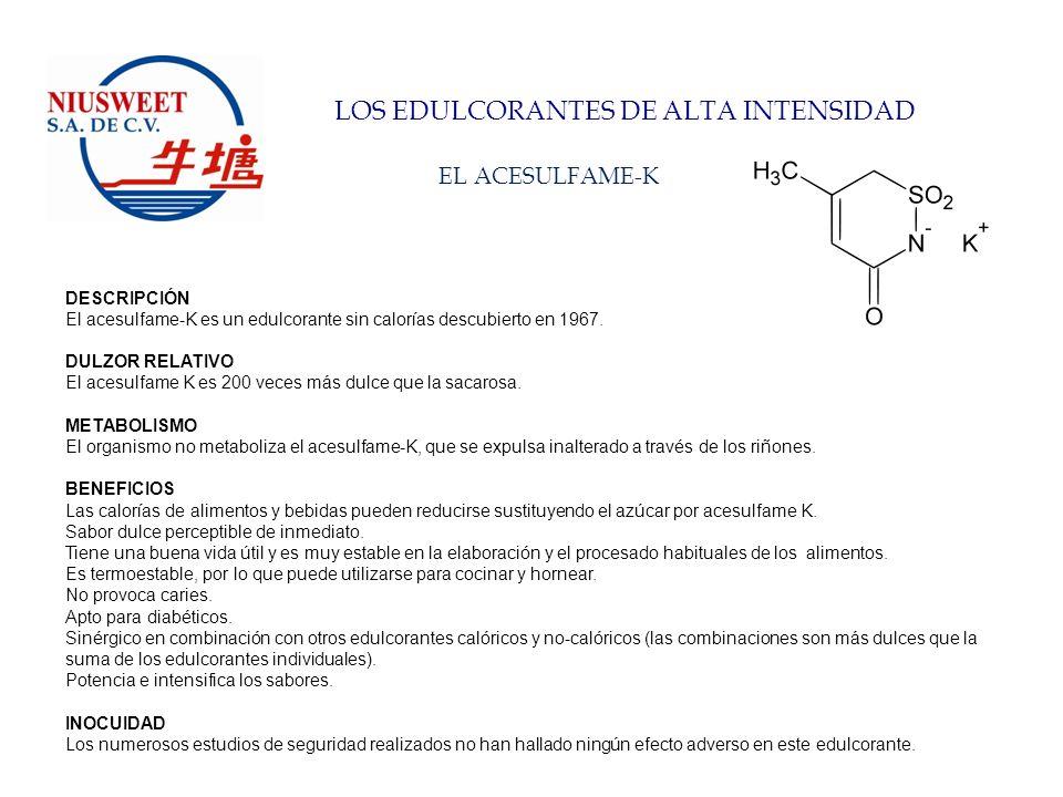 LOS EDULCORANTES DE ALTA INTENSIDAD LA STEVIA DESCRIPCIÓN Stevia es un extracto de las hojas de la planta Stevia Rebaudiana Bertoni, conteniendo principalmente ocho glicósidos que aportan el dulzor, y de los cuales los más importantes son el steviósido, el rebaudiósido-A y el rebaudiósido–C.