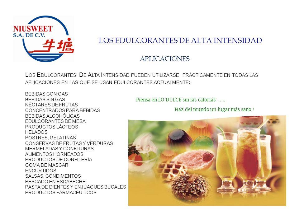 LOS EDULCORANTES DE ALTA INTENSIDAD SUSTITUCIÓN DE AZÚCAR EJEMPLO DEL AHORRO ECONÓMICO EQUIVALENTE (KGS) EDULCORANTEPoder Edulcorante VS.