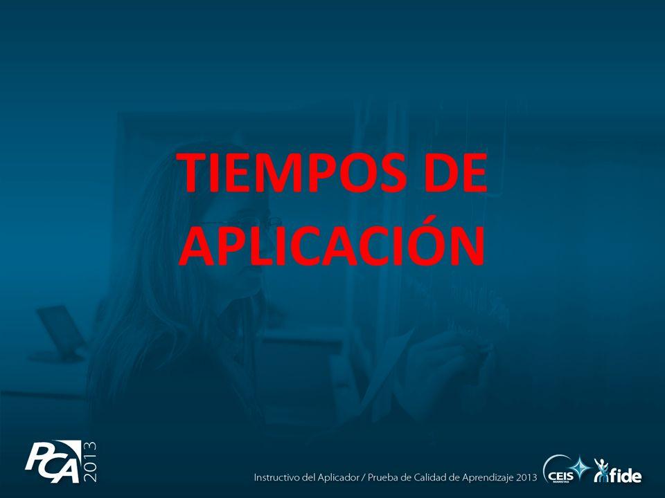 TIEMPOS DE APLICACIÓN