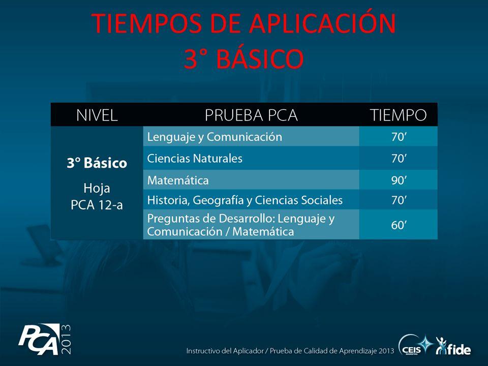 TIEMPOS DE APLICACIÓN 3° BÁSICO