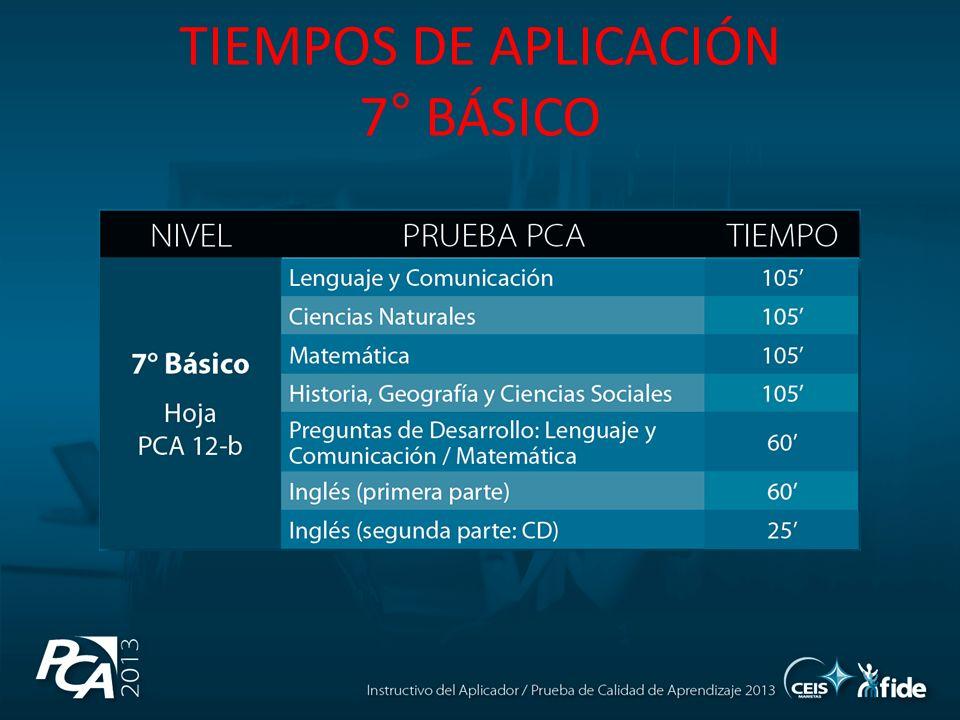 TIEMPOS DE APLICACIÓN 7° BÁSICO