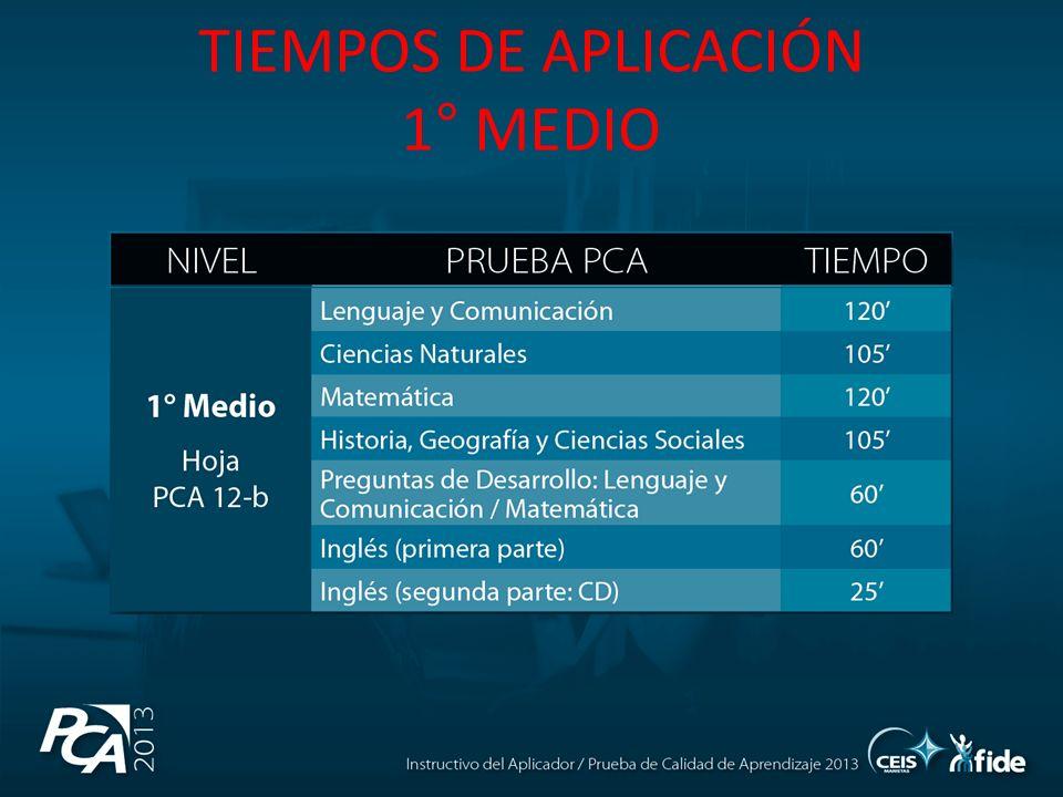 TIEMPOS DE APLICACIÓN 1° MEDIO