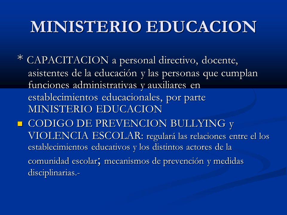 MINISTERIO EDUCACION * CAPACITACION a personal directivo, docente, asistentes de la educación y las personas que cumplan funciones administrativas y a