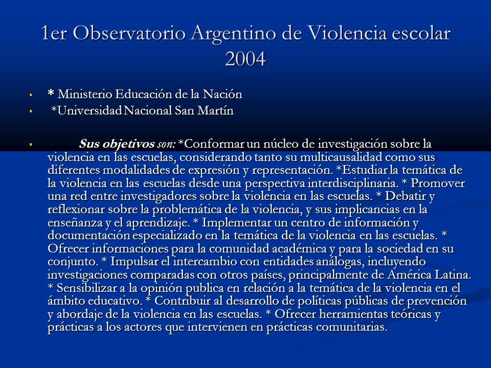 1er Observatorio Argentino de Violencia escolar 2004 * Ministerio Educación de la Nación * Ministerio Educación de la Nación *Universidad Nacional San