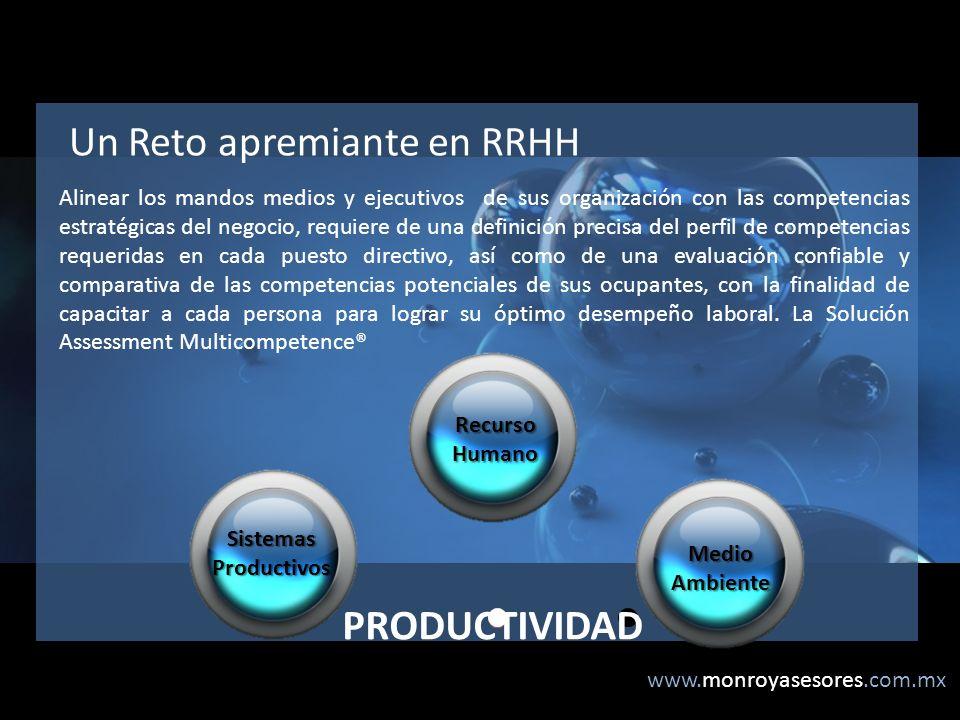 www.monroyasesores.com.mx Un Reto apremiante en RRHH Alinear los mandos medios y ejecutivos de sus organización con las competencias estratégicas del